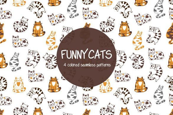 Funny Cats Illustration Vector Free Pattern| DesZone.net